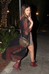 CJ Franco Smiles for the cameras as she exits the Sunset Towers for the night