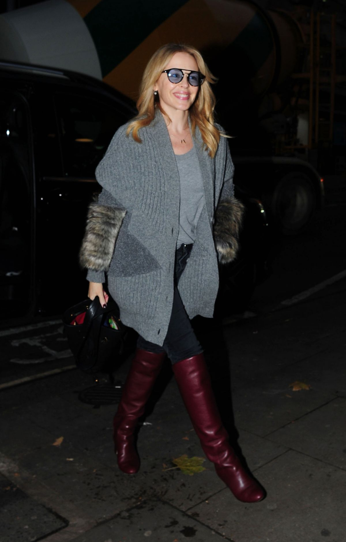 Kylie Minogue Is All Smiles Arriving At A London Hotel