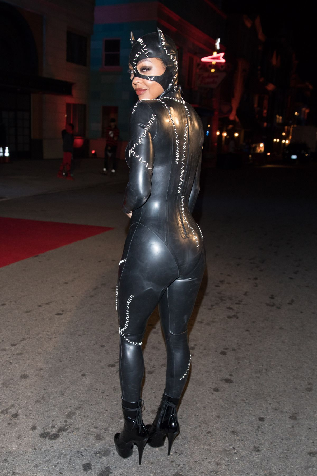 Meagan Good Is seen in her costume at Chris Brown Album release party in Universal Studios