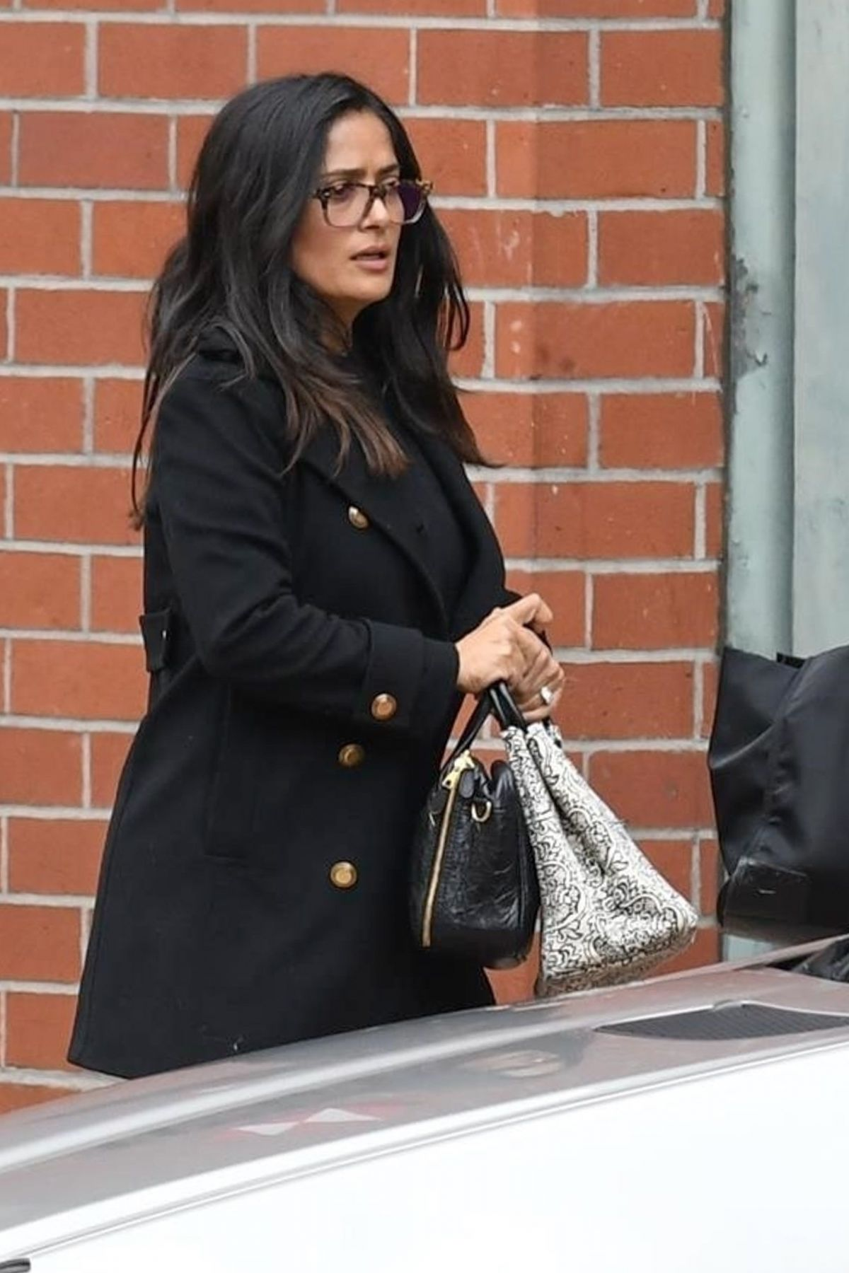 Salma Hayek Gets a lift after a medical building visit in Beverly Hills