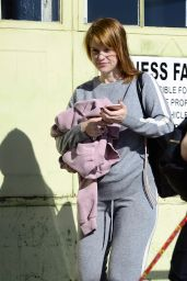 Alice Eve Debuts a new strawberry blonde haircut as she is pictured exiting a gym session in Los Angeles