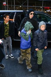 Angelina Jolie Arrives at a local studio with her kids in New York City