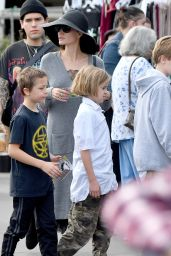 Angelina Jolie Takes her kids to the Rosebowl flea market in Pasadena