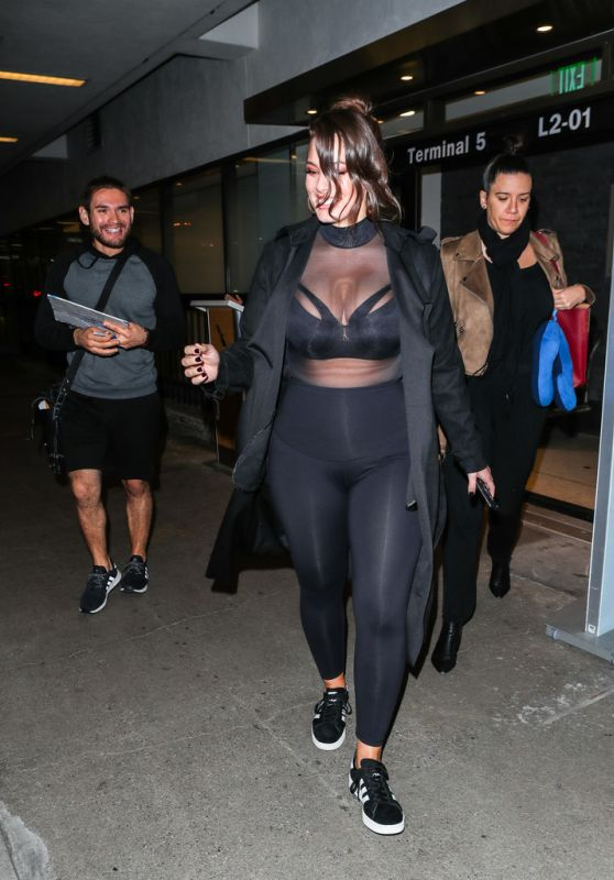 Ashley Graham Is seen at Los Angeles International Airport in Los Angeles, California