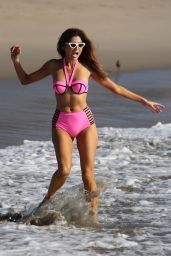 Blanca Blanco Looks stunning in pink arriving at the beach in Malibu for a photo shoot