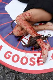 Cassandra Foret with PeTA Animal rights activists protest against Canada Goose company, in Paris