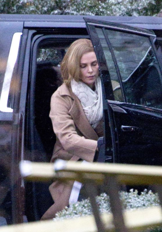 Charlize Theron Is photographed arriving to the set of