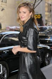 Christina Evangeline Looks stunning in black leather, as she poses for photos outside of the NBC studios in New York