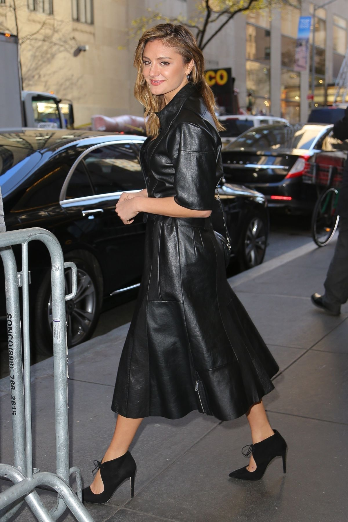 christina evangeline looks stunning in black leather as