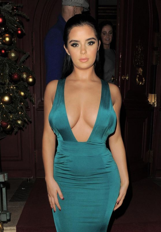 Demi Rose Mawby Daring Green Dress During Night Out in Mayfair In London