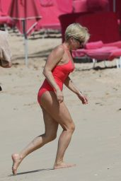 Emma Forbes In Red Swimsuit in Barbados