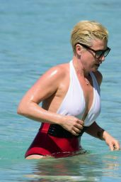 Emma Forbes In Red & White Swimsuit in Barbados