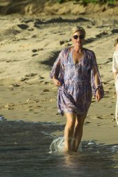 Emma Forbes On Beach in Barbados