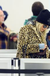 Fergie Arrives in style with leopard print to catch a flight at JFK airport in NYC