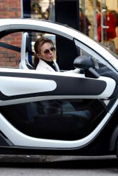 Geri Horner Seen in Hampstead at a cashpoint and in a Renault Twizy electric car