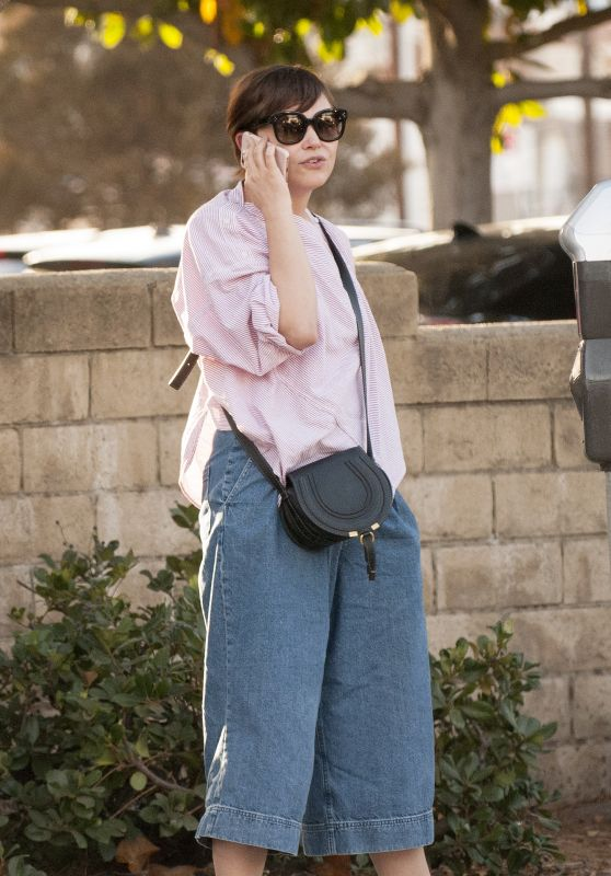 Ginnifer Goodwin and husband Josh Dallas stroll around and chat with a female friend after a late lunch in Studio City