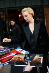 Gwendoline Christie Signs autographs as she leaves her hotel in the East Village, New York City
