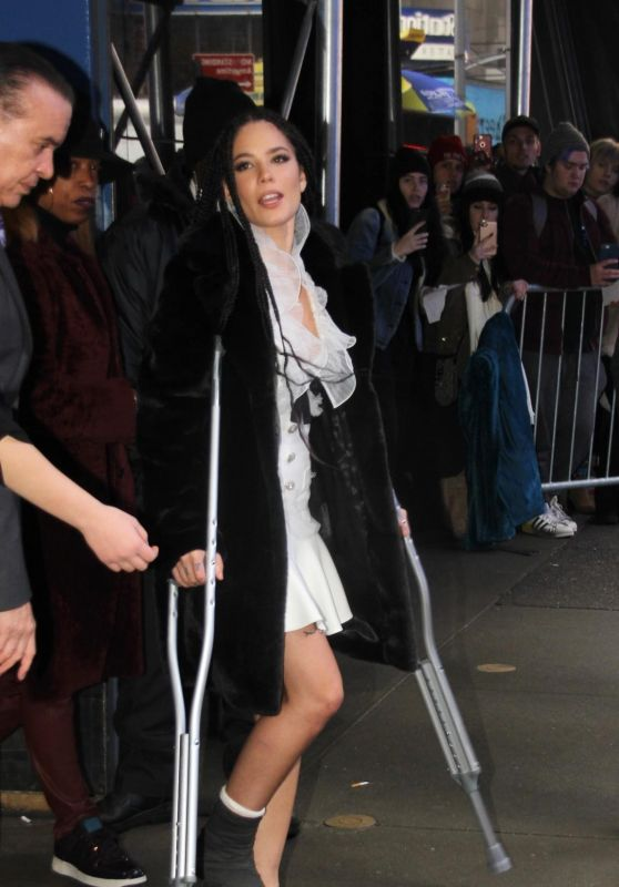Halsey Hobbles away on crutches after appearing on Good Morning America