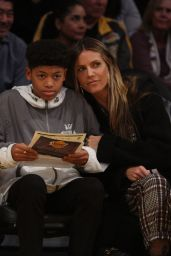 Heidi Klum and her son at the Lakers game at Staples Center in LA