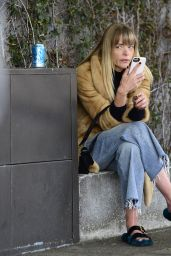 Jaime King Chats on her cell phone after getting haircut in Beverly Hills