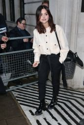 Jenna Coleman At BBC Radio 2 for an appearance on the Chris Evans Breakfast Show in London