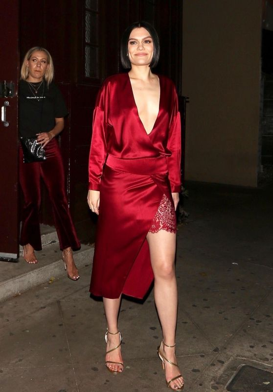 Jessie J Leaves The Peppermint Club in Los Angeles wearing a red silk dress after giving a private performance. Los Angeles