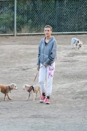 Joanna Krupa Takes her six dogs to the dog park in Hollywood
