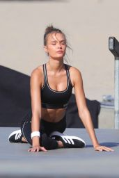 Josephine Skriver and Jasmine Tookes At photo shoot for VS in the Muscle Beach Area of Venice Beach
