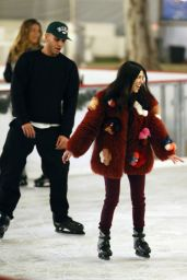 Kourtney Kardashian Ice skating at a party in Thousand Oaks