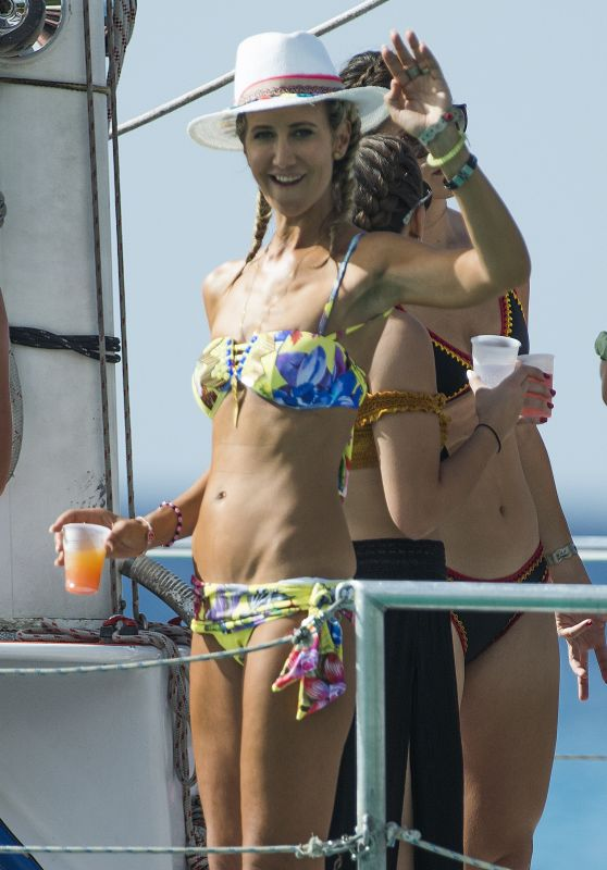 Lady Victoria Hervey Is spotted onboard party boat while on holiday in Barbados