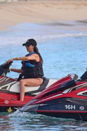 Lauren Silverman Taking a jet ski for a ride in Barbados