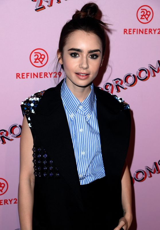Lily Collins At 29Rooms opening night of
