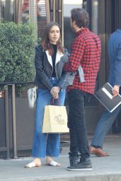 Lily Collins Outstide The Palm in LA