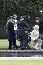 Lily James With her broken toe on the set of