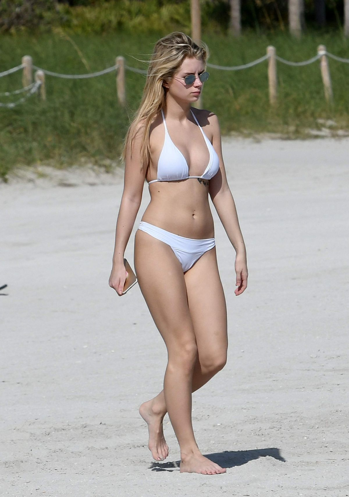 Lottie Moss in White Bikini on Holiday in Miami Pic 1 of 35