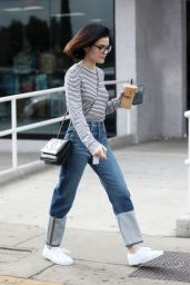 Lucy Hale Grabs an iced coffee from Alfred Coffee in West Hollywood