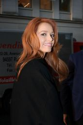 Maeva Coucke Arrives at Europe 1 Station in Paris