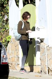 Mary Elizabeth Winstead Outside her home in LA