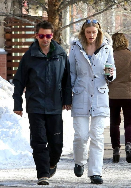 Newly engaged couple Matthew Bellamy and Elle Evans grab a morning coffee in Aspen