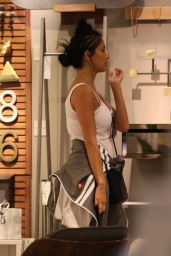 Nicole Scherzinger Chats on the phone while shopping for home goods at CB2 in West Hollywood