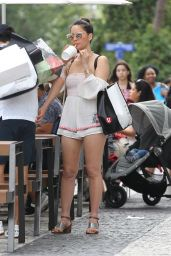 Olivia Munn Seen leaving a restaurant after lunch with Eva Longoria and husband Jose Baston in Miami Beach