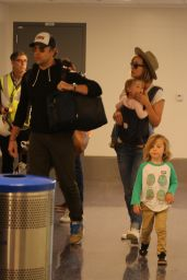 Olivia Wilde and Jason Sudeikis travel with the kids via LAX in Los Angeles
