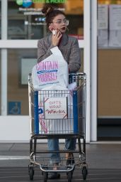 Sarah Hyland Leaves The Container Store with a cart full of purchases in LA