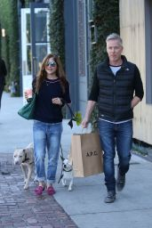 Selma Blair In Melrose doing some shopping with her boyfriend and dogs
