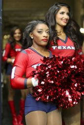 Simone Biles Performs with the Houston Texans cheerleaders during the game against the San Francisco 49ers at NRG Stadium in Houston