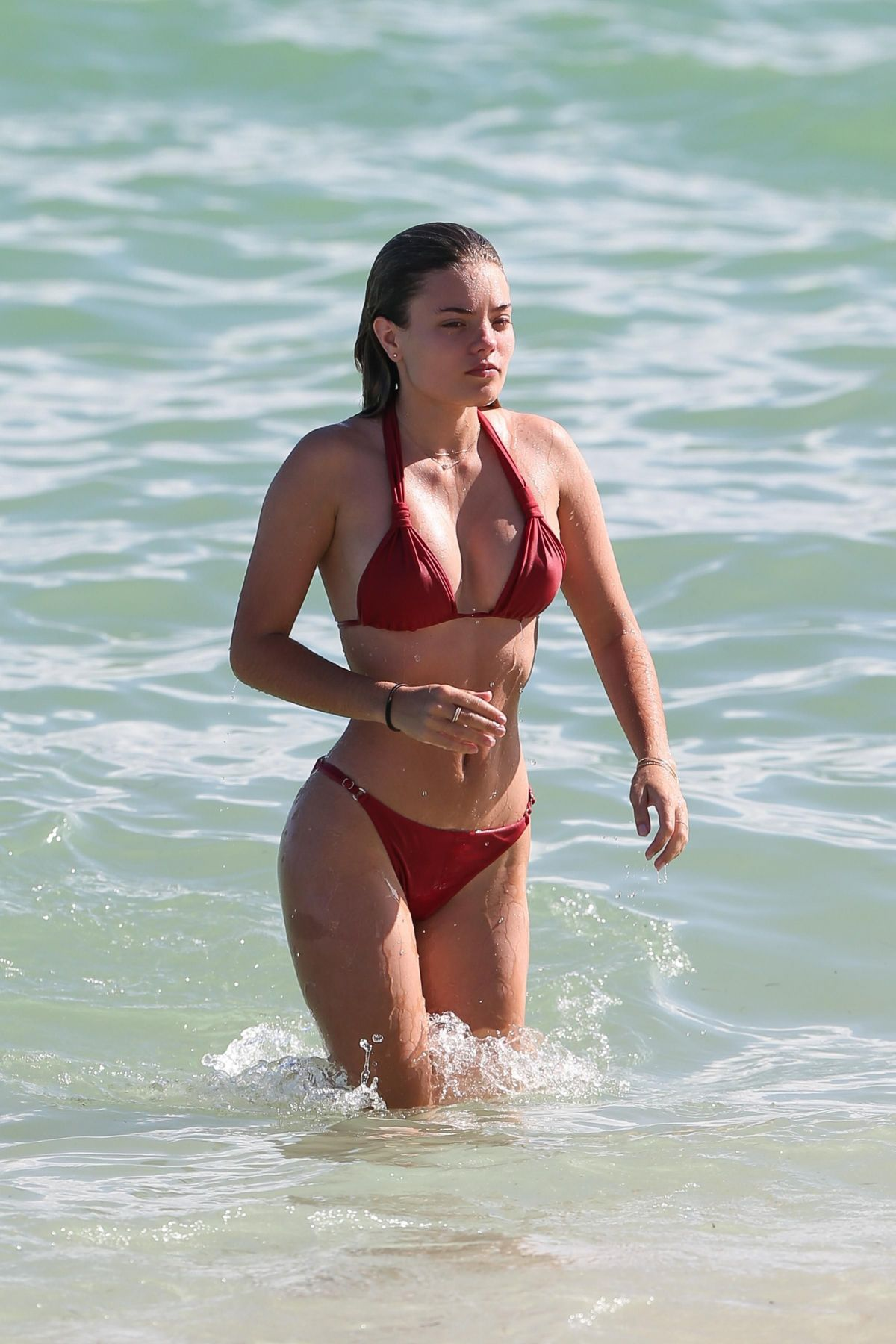 Sophia Vantuno in Red Bikini on the beach in Miami Pic 7 of 35