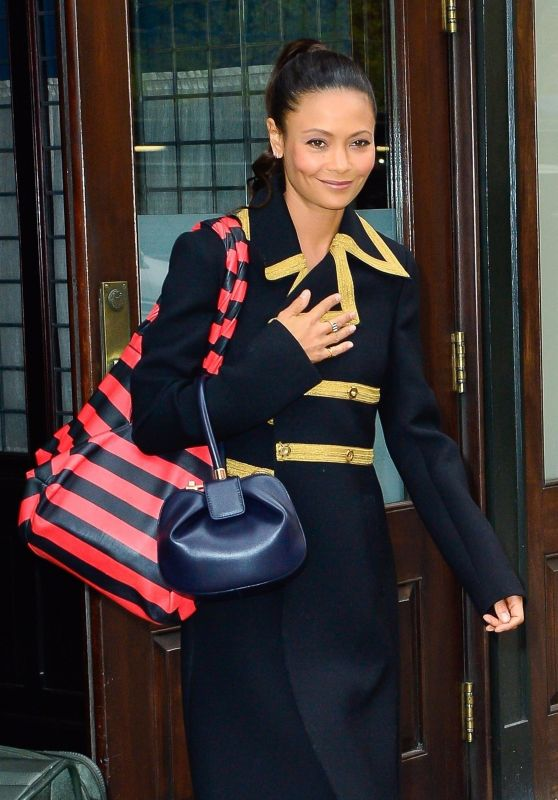 Thandie Newton Flashes a smile while leaving her hotel in New York City