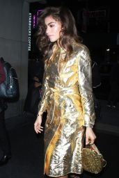 Zendaya Coleman Wearing an all gold outfit as she arrives at NBC