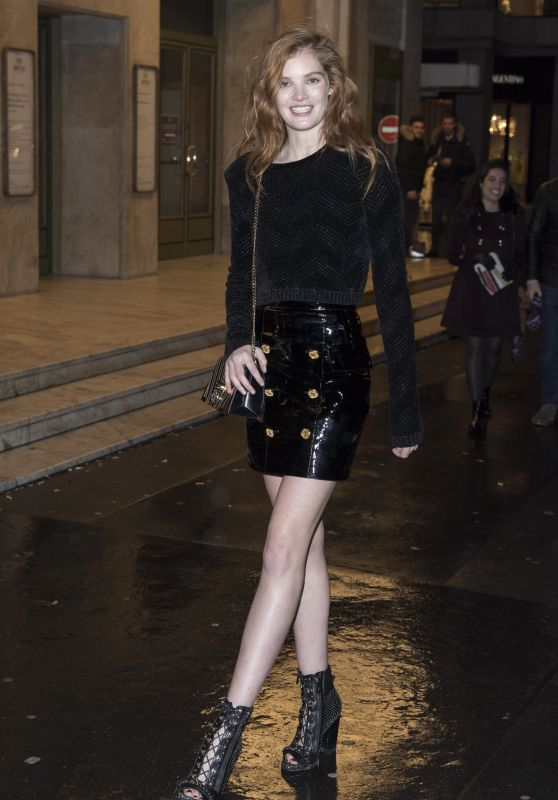 Alexina Graham Arrives at Balmain Homme Menswear Fall/Winter 2018-2019 aftershow in Paris