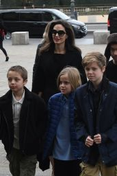 Angelina Jolie And her children are seen leaving the Louvre museum in Paris, France